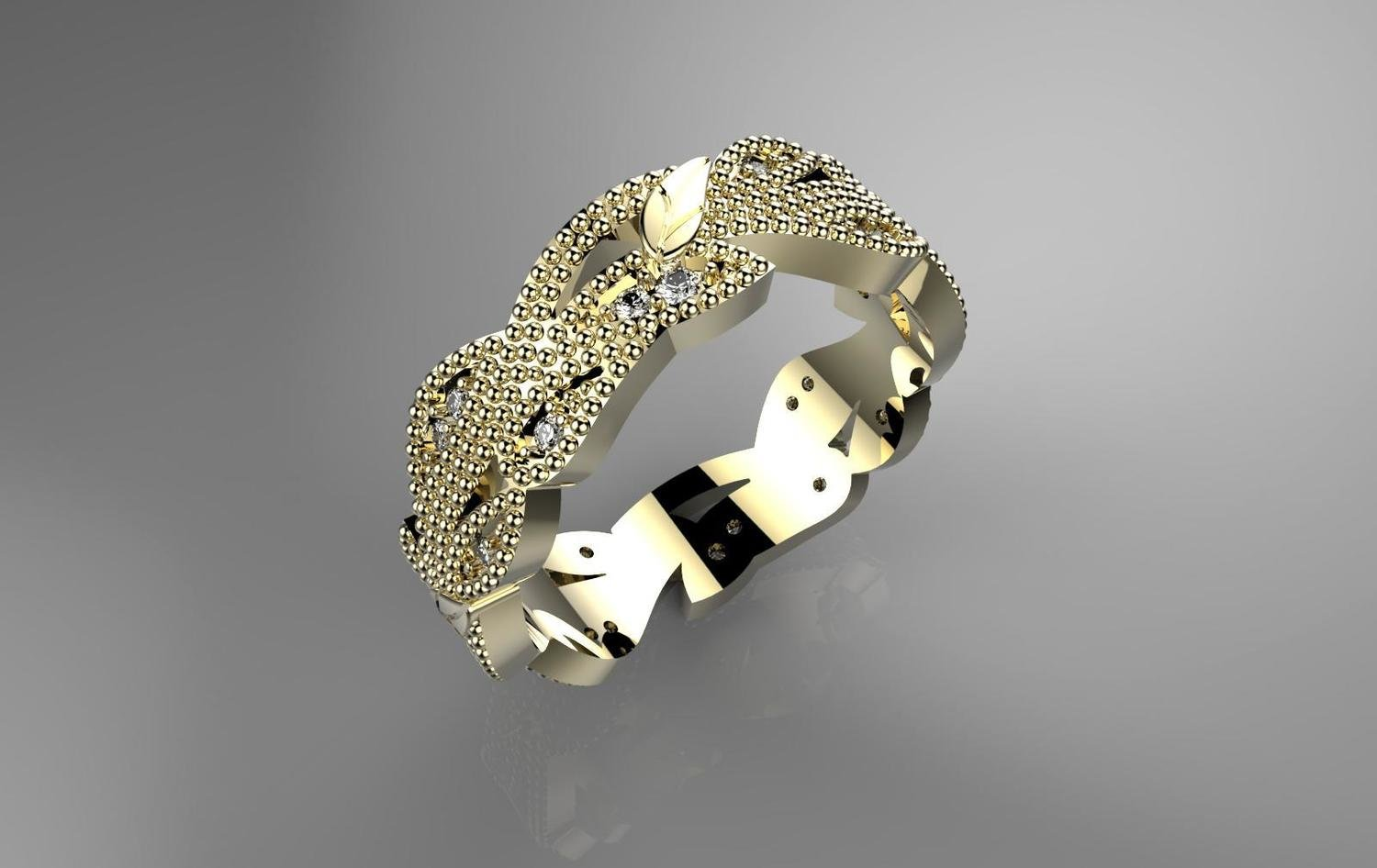 3D CAD Model of Wedding Ring with Diamonds
