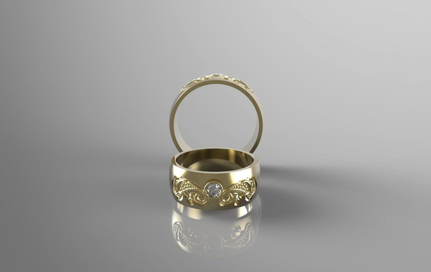 CAD Model of Wedding Ring with Diamond