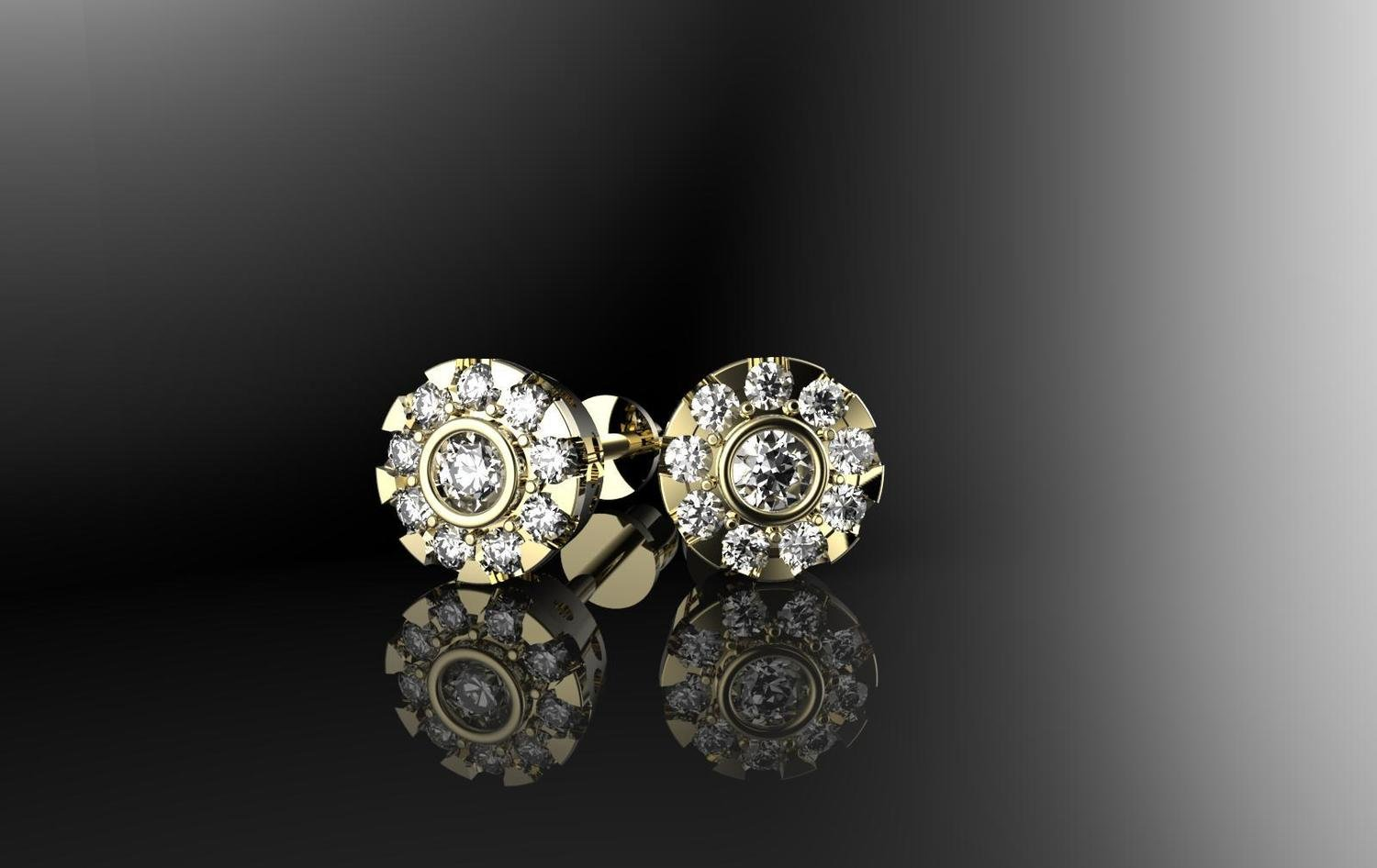 3D CAD file of stud earrings with stones