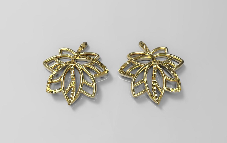 3D CAD model of floral design earrings