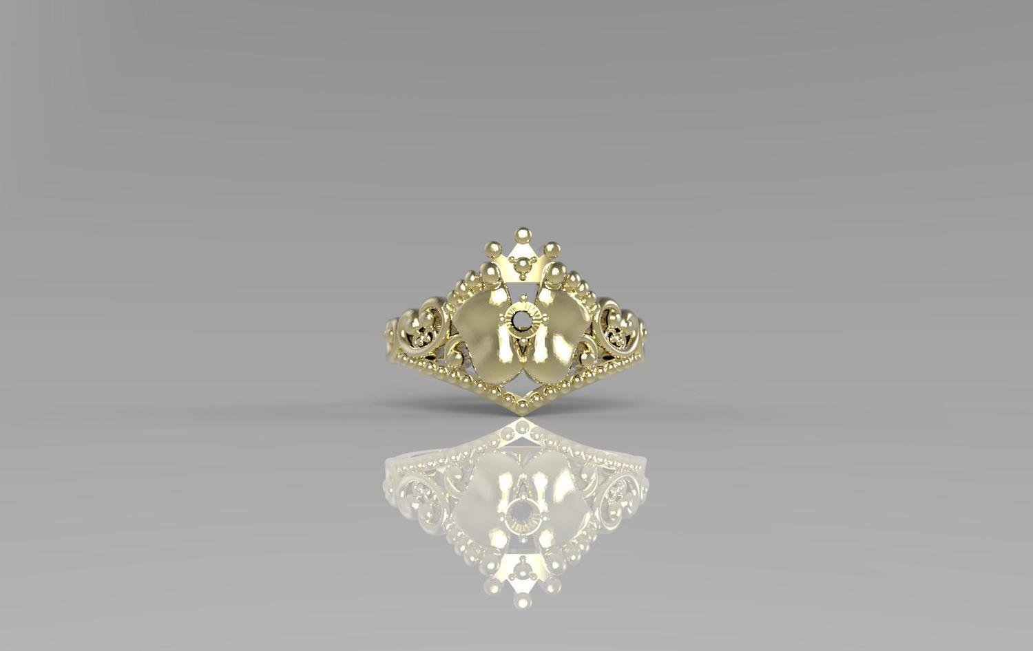 3D CAD Model of Anniversary Ring with Diamond