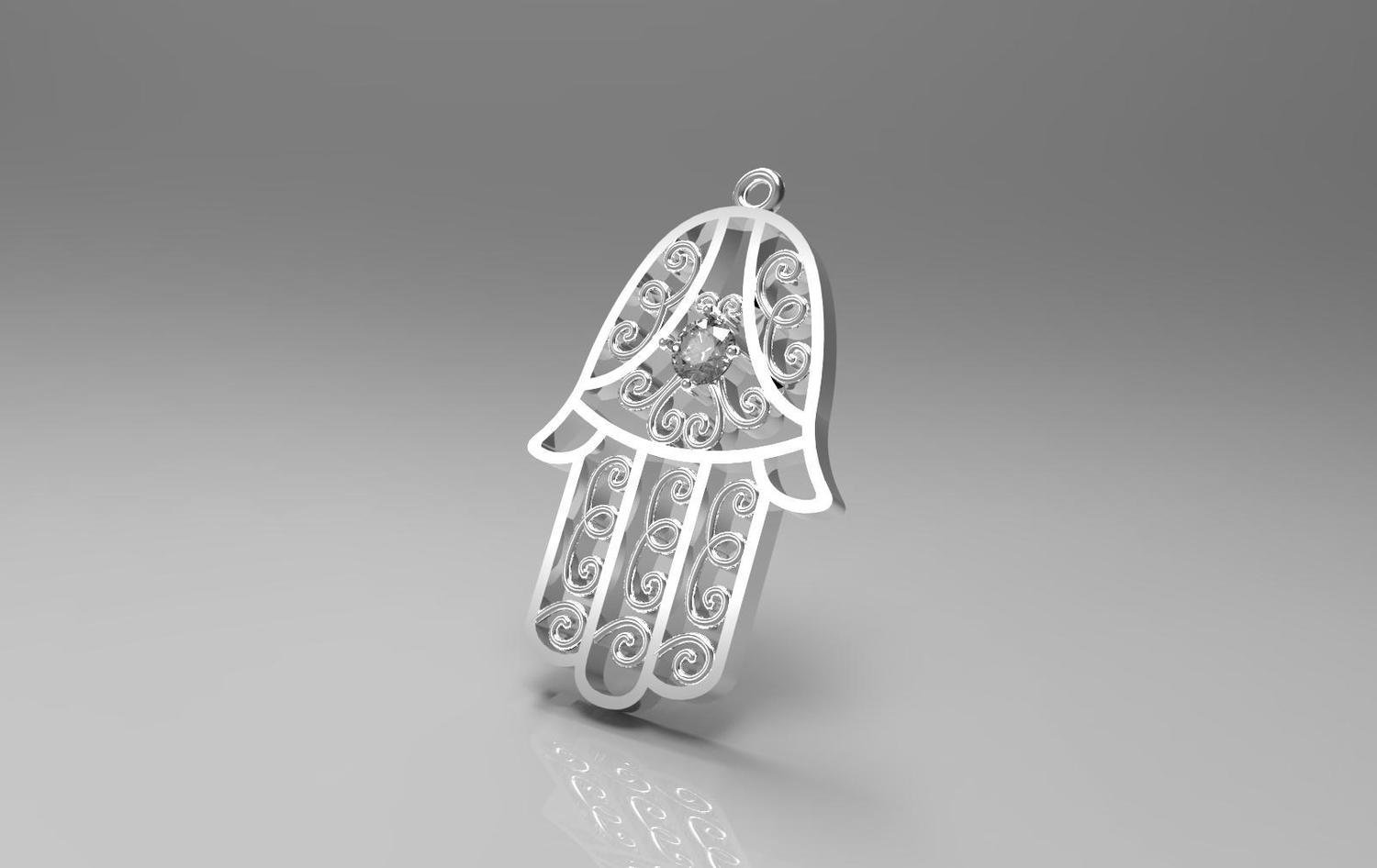 3D CAD Model of Religious Pendant with Diamonds