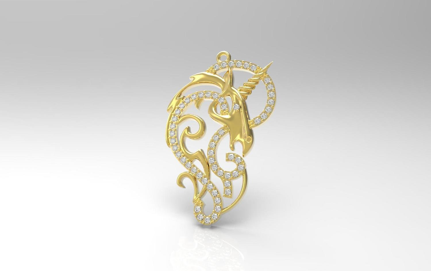 3D CAD Model of Pendant with Diamonds
