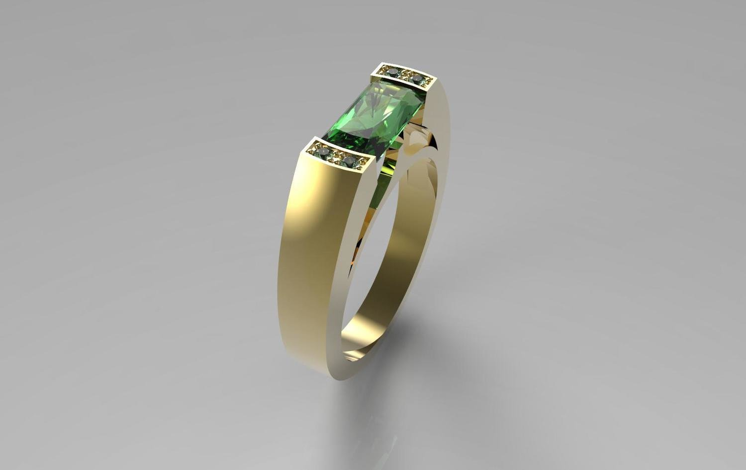 3D CAD Model of Men's Ring with Emerald and Diamonds