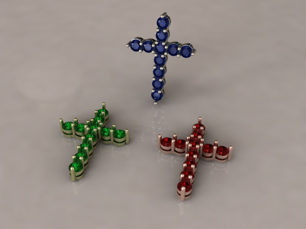 Cross with Colored Gemstones