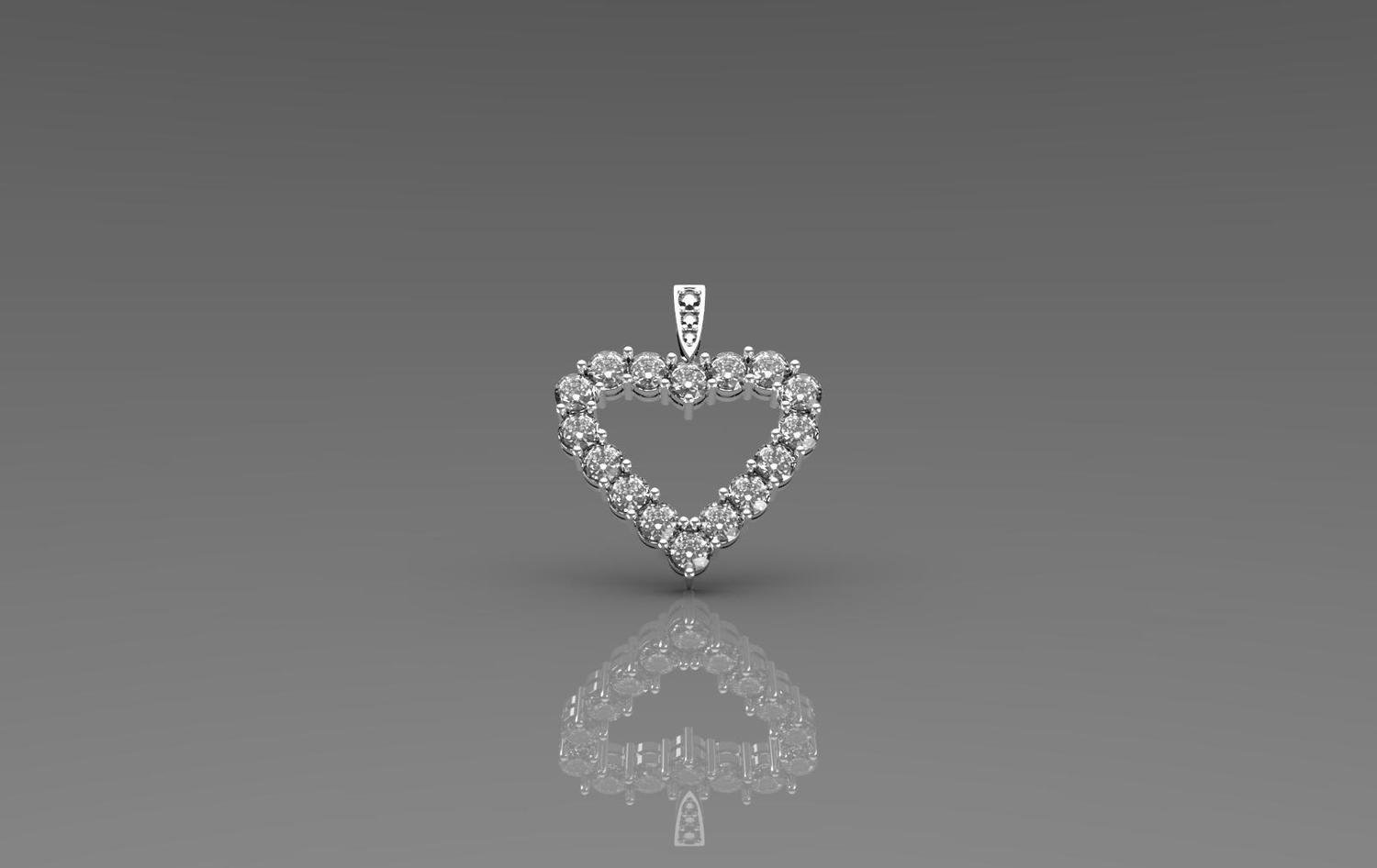 3D Jewelry Model of Heart Pendant with Diamonds