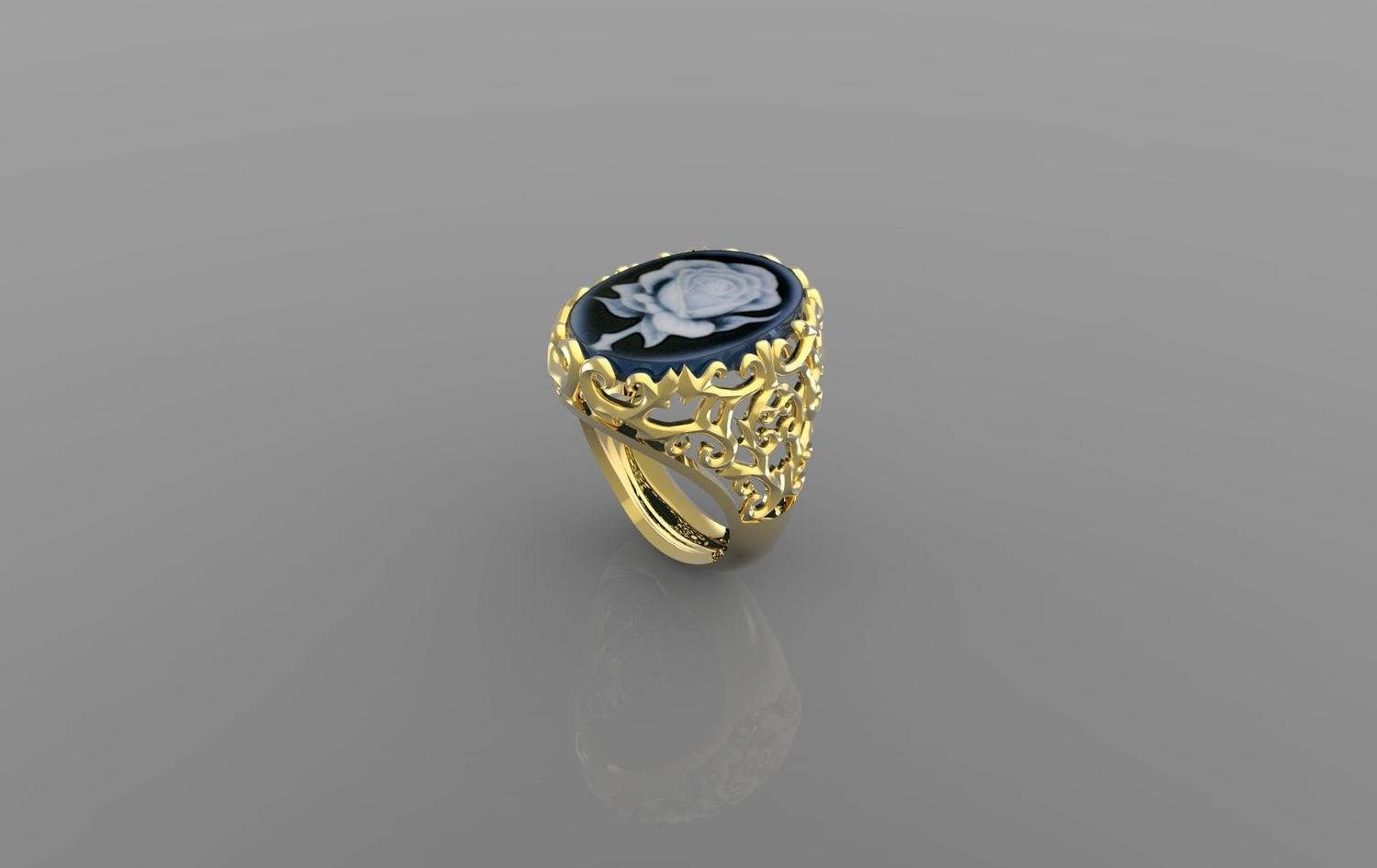 3D Jewelry Model of Cameo Ring