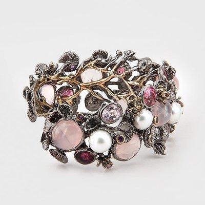 Multicolored gemstone bracelet in sterling silver