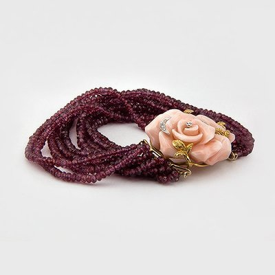 Rhodolite, Coral and Diamond  Bracelet in 18k Yellow Gold