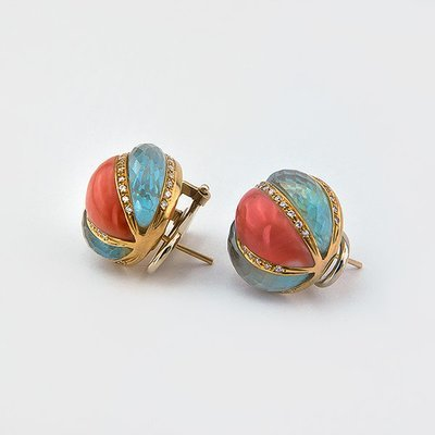Topaz,coral and diamonds earrings in 18k yellow gold