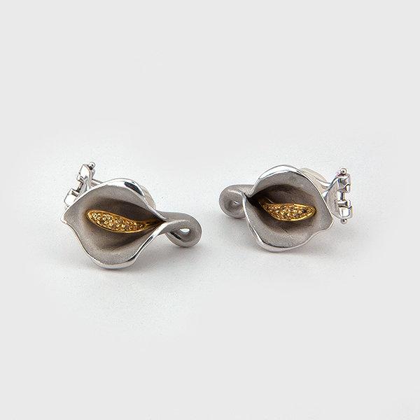 Yellow sapphire earrings in 18k white gold