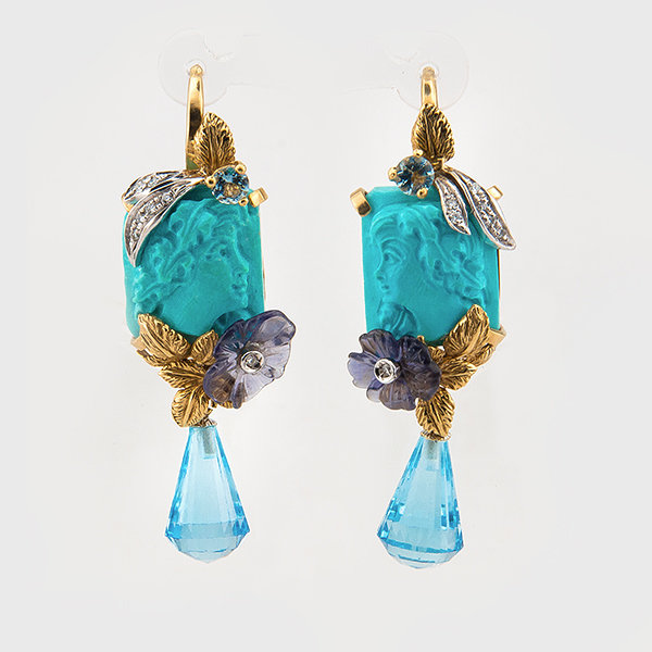 Curved turquoise, gemstone and diamond earrings in 18K yellow gold