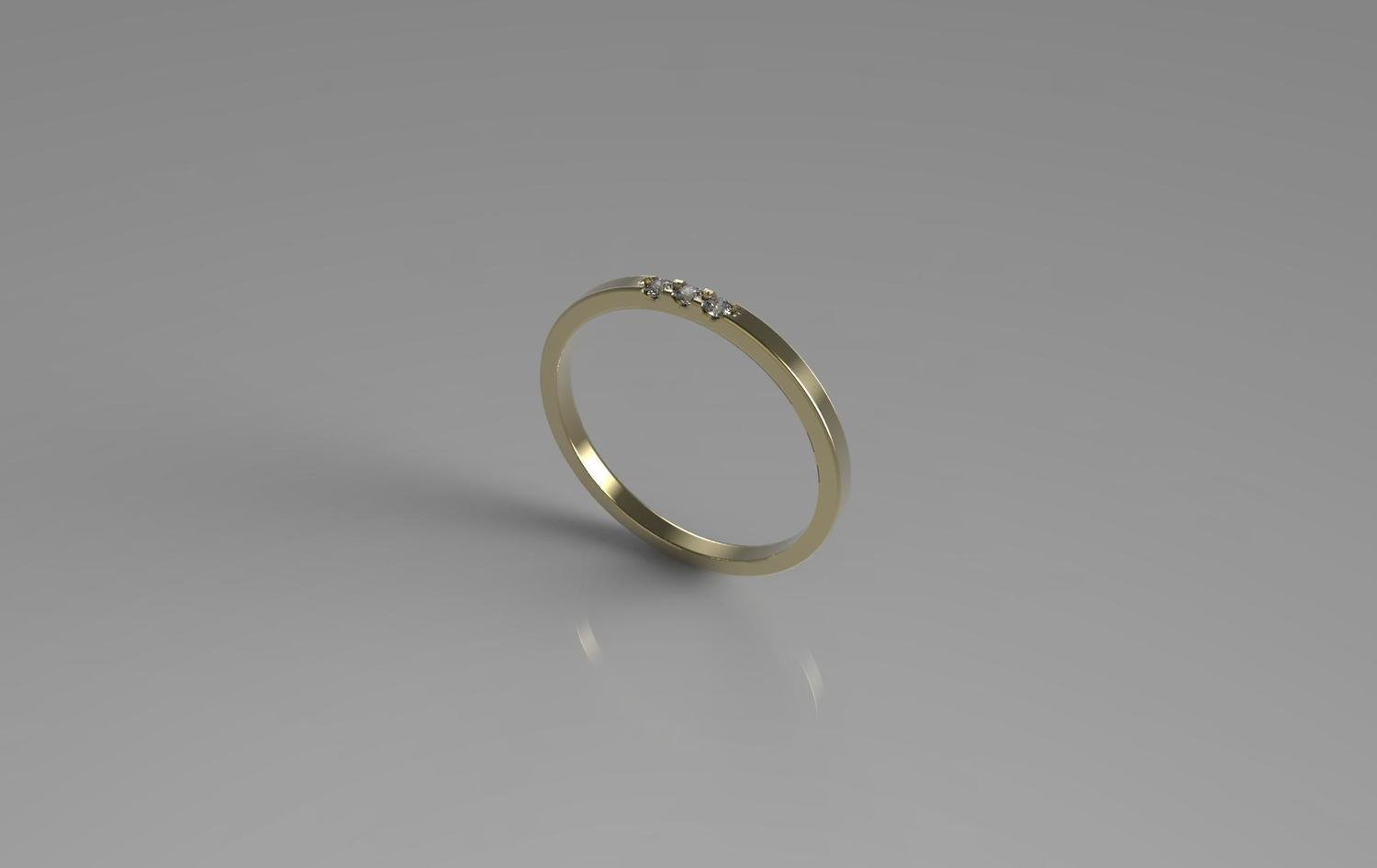 3d jewelry  model of 3 stones wedding ring, (size 8 US)
