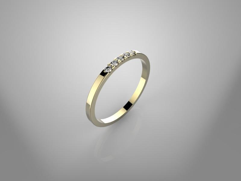 3d jewelry model of 5 stone wedding ring(size 8 US)