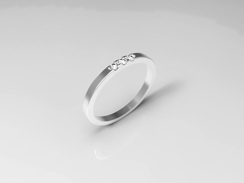 3 stone wedding ring jewelry model (6US)