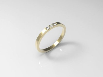 3 stone wedding ring jewelry model (8US)
