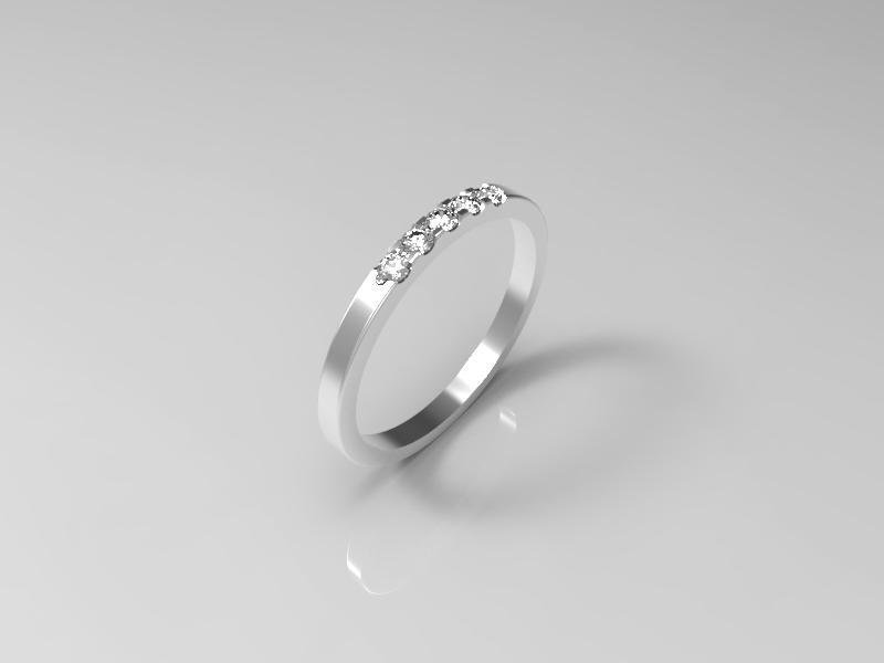 3D jewelry model of 5 stones  wedding ring (Size 8US)