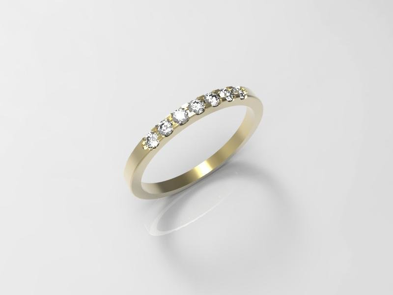 3D jewelry model of 7 stones  wedding ring (Size 8US)