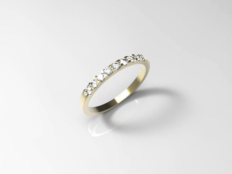 3D jewelry model of 9 stones  wedding ring (Size 6US)