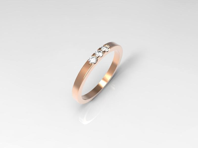 3D jewelry model of 3 stones  wedding ring (Size 6US)