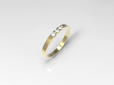 3D jewelry model of 3 stones  wedding ring (Size 8US)