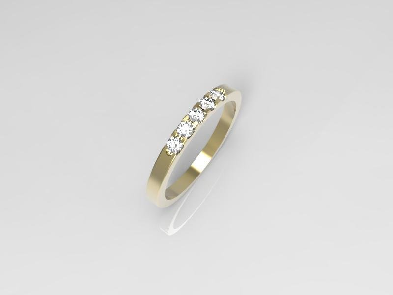 3D jewelry model of 5 stones  wedding ring (Size 6US)