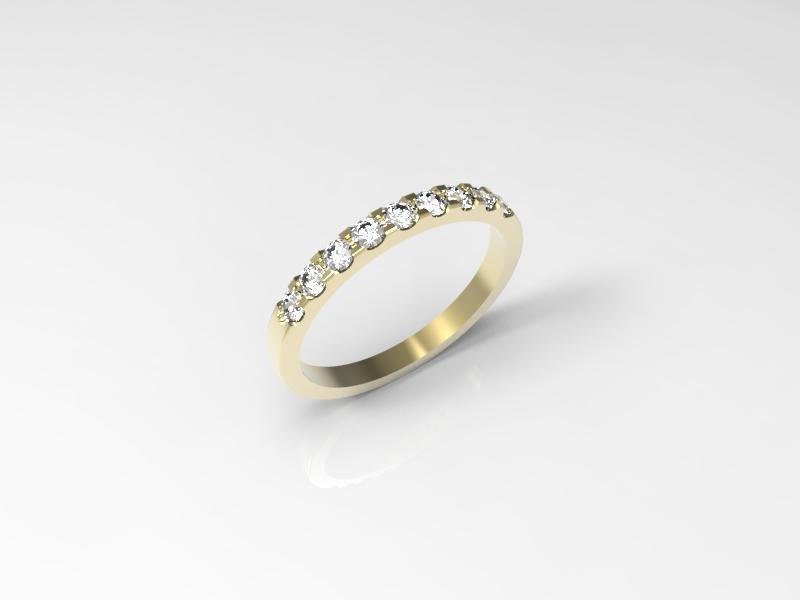 3D jewelry model of 9 stones  wedding ring (Size 8US)