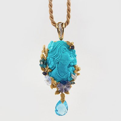 Curved Turquoise and Diamond Pendant in 18k yellow gold