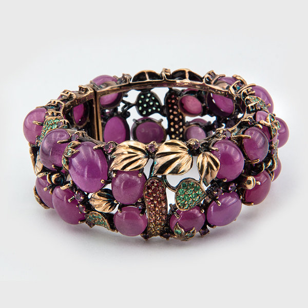 Multicolored Ruby,Peridot,Amethyst Gemstone Bracelet in Sterling Silver