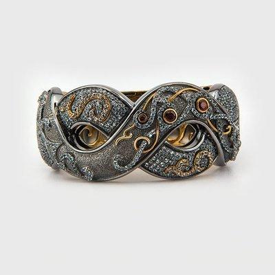 White topaz and Garnet gemstone bracelet in sterling silver