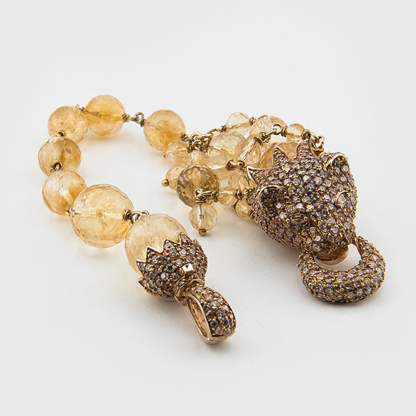 Citrine gemstone bracelet in gold plated silver