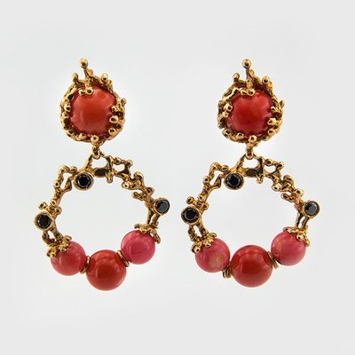 Gemstone and coral earrings in yellow gold plated silver