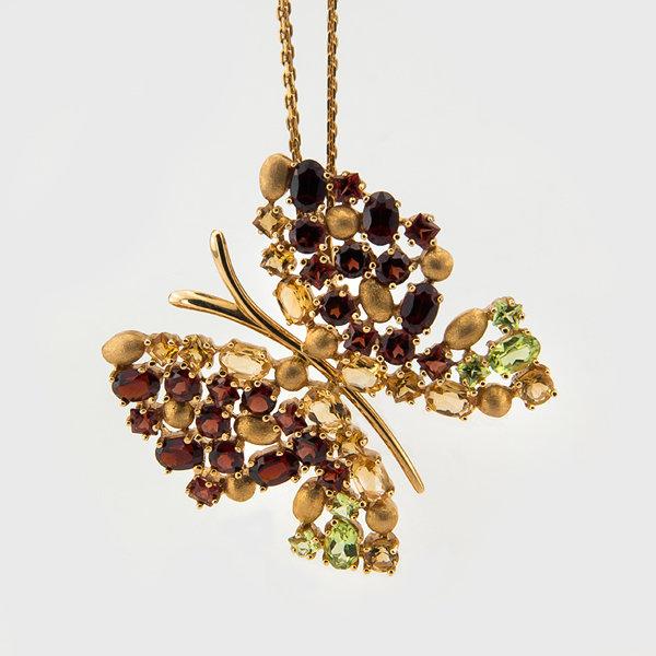 Garnet. Peridot, Citrine gemstone pendant in 14k yellow gold