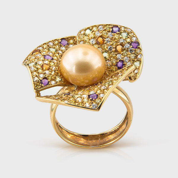 Pearl and colored stone ring in 14k yellow gold
