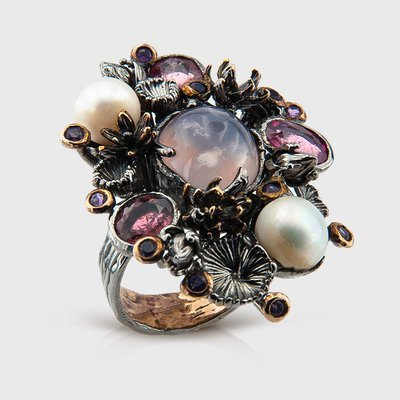 Pearl and gemstone ring in sterling silver