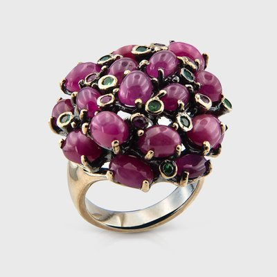 Gemstone ring in yellow gold plated silver