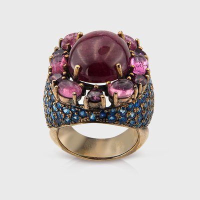 Sapphire,Tourmaline and Rhodolite gemstone ring in yellow gold plated silver