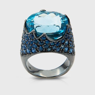 Sapphire and Topaz colored gemstones ring in sterling silver
