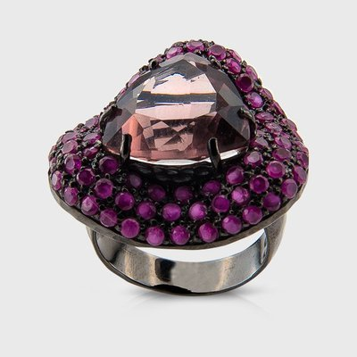 Colored gemstone ring in sterling silver