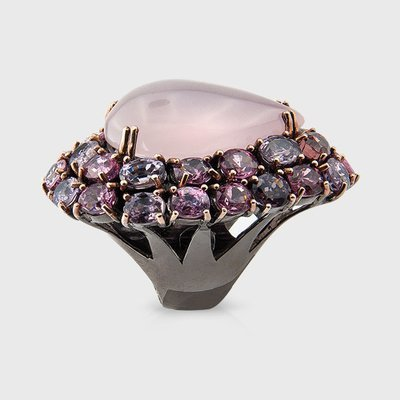 Rose Quartz and Spinel gemstone ring in sterling silver