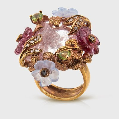 Aquamarine,Quartz,Topaz Colored gemstone ring in yellow gold plated silver