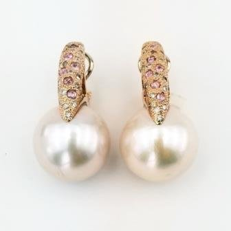 Pearl and gemstone earrings in 18k yellow gold