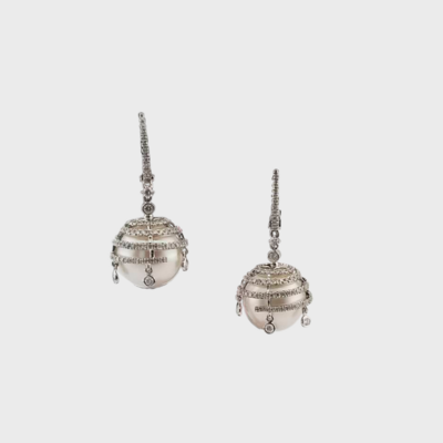 Pearl and diamond drop earrings in 14K white gold