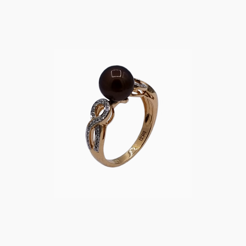 Black pearl and diamond ring in 14K rose gold