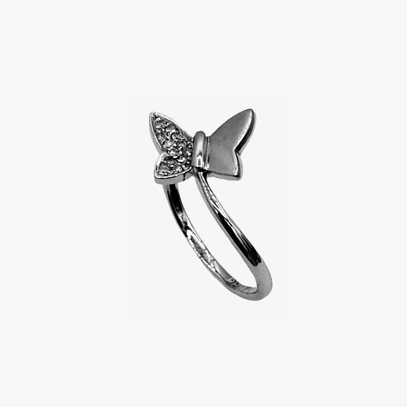 Butterfly design diamond ring in 18K white gold