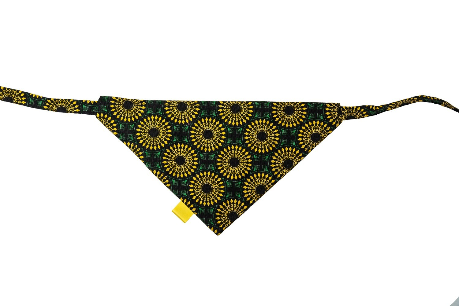Shweshwe Print Bandana - Medium - Green & Yellow