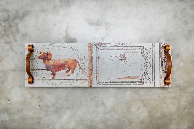 Platter/Tray - Brown Dachshund & Wreath