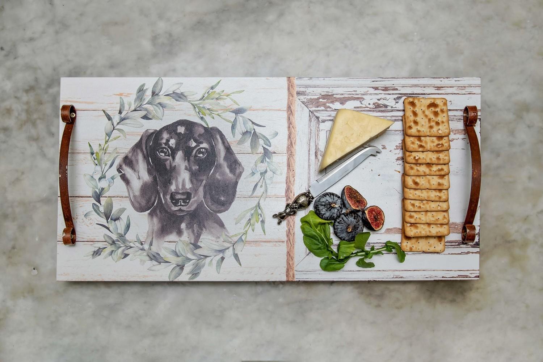 Platter/Tray - Black Dachshund & Wreath