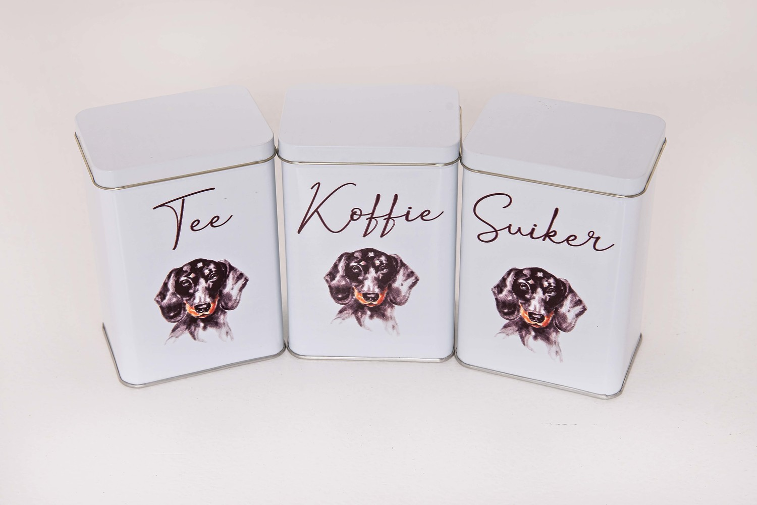 ​Tea, Coffee and Sugar Set - Black Dog - Afrikaans