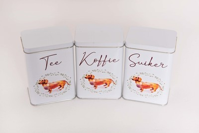 ​Tea, Coffee and Sugar Set - Brown Dog - Afrikaans